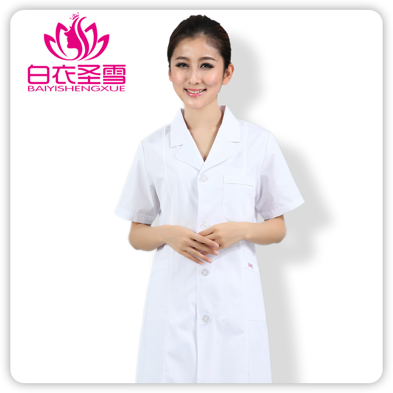 New 2015 medical uniforms White summer short-sleeve clothing female physician services lab coat white medical scrubs women(China (Mainland))