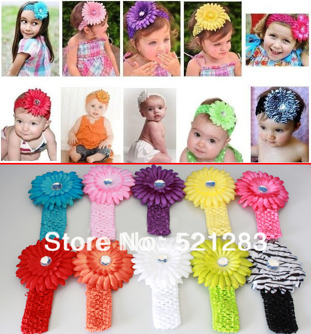 Min.order is $5 (mix order) NEW Crochet headband + Gerbera Daisy flower + clip, aligator grip children headbands xth013(China (Mainland))