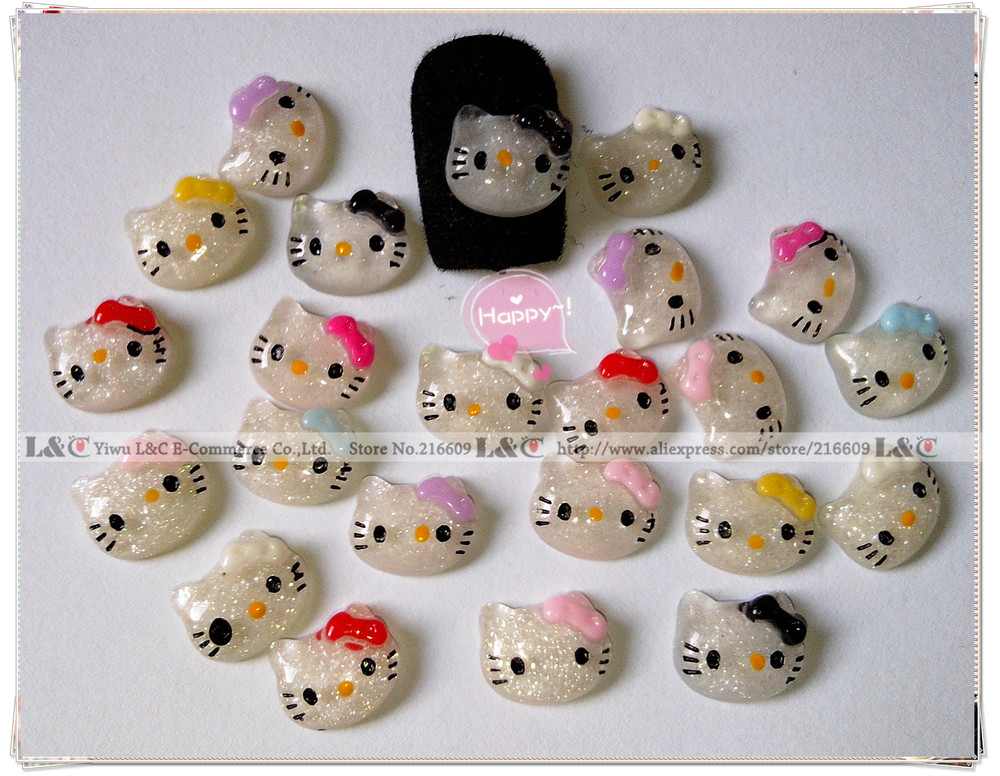 HOT 104pcs/Lot Hello Kitty Nail Art 3d Beauty Lovely Glitter Clear Resin Cat+Bow DIY Nails Decoration Mixed Colors Free Shipping(China (Mainland))