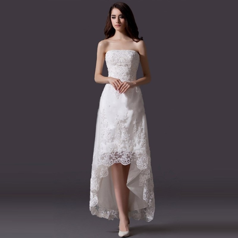 2015 vintage lace wedding dresses beaded white strapless for Vintage beaded lace wedding dress