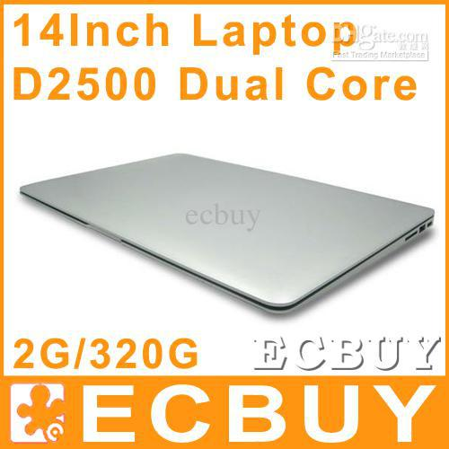 Wholesale - 14 inch Dual Core laptop tablet pc 2G DDR3 320G Win7 win 7 Air Book D2500 Notebook Computer PC ultrabook cheap lapto(China (Mainland))