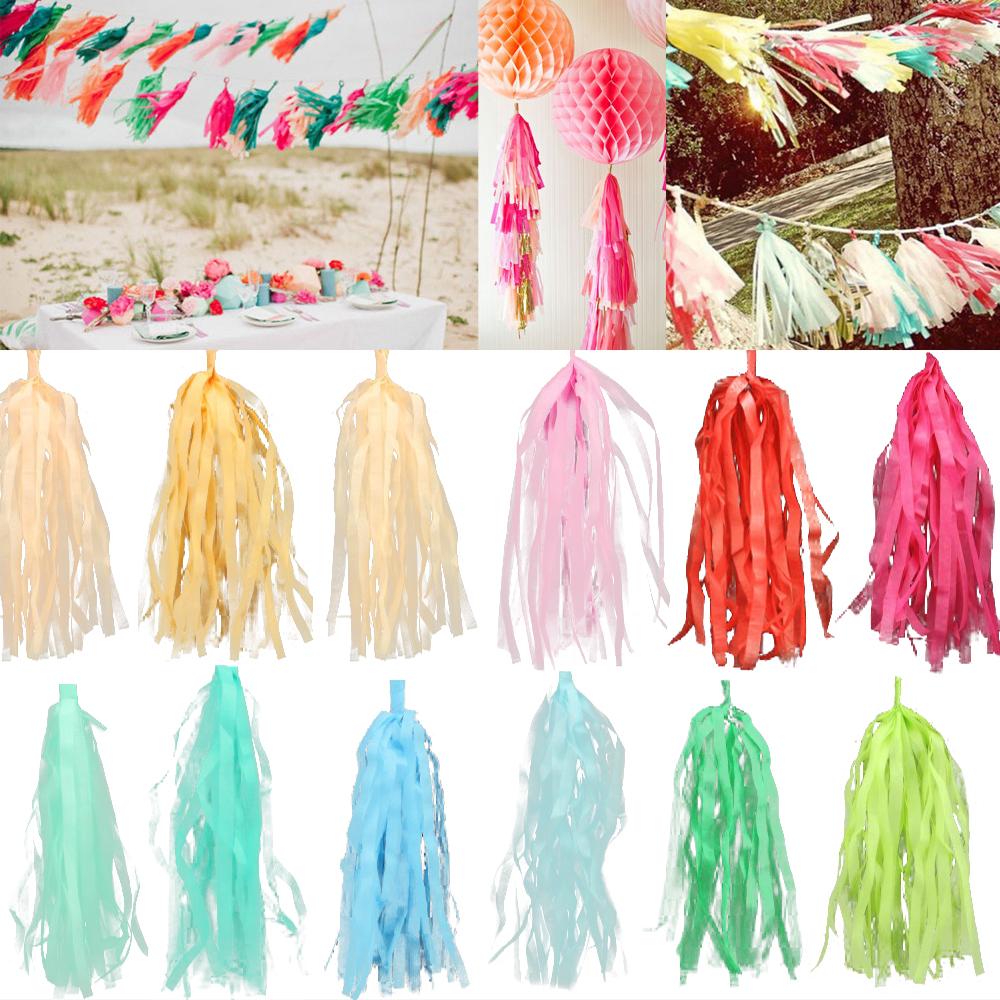 5Pcs/Bag 15 Inch (Height) 24CM*38CM Tissue Garlands Bunting Paper Tassels Garland Wedding Pom Party Decor tassles decoration(China (Mainland))