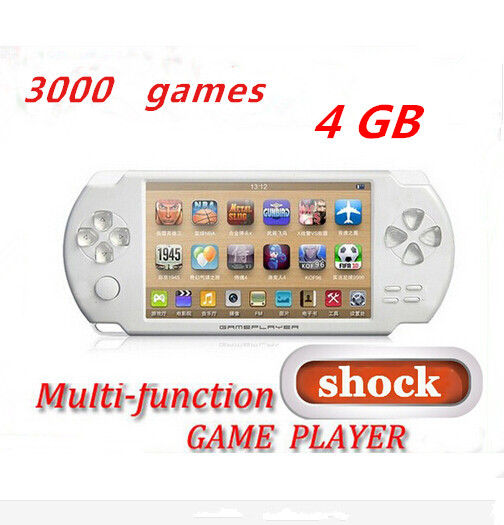 4.3 Inch 4G Shock Game Console Bulit in Camera FM TV OUT Handheld Game Player Free 3000 Games For Adult And Children 5 Colors(China (Mainland))