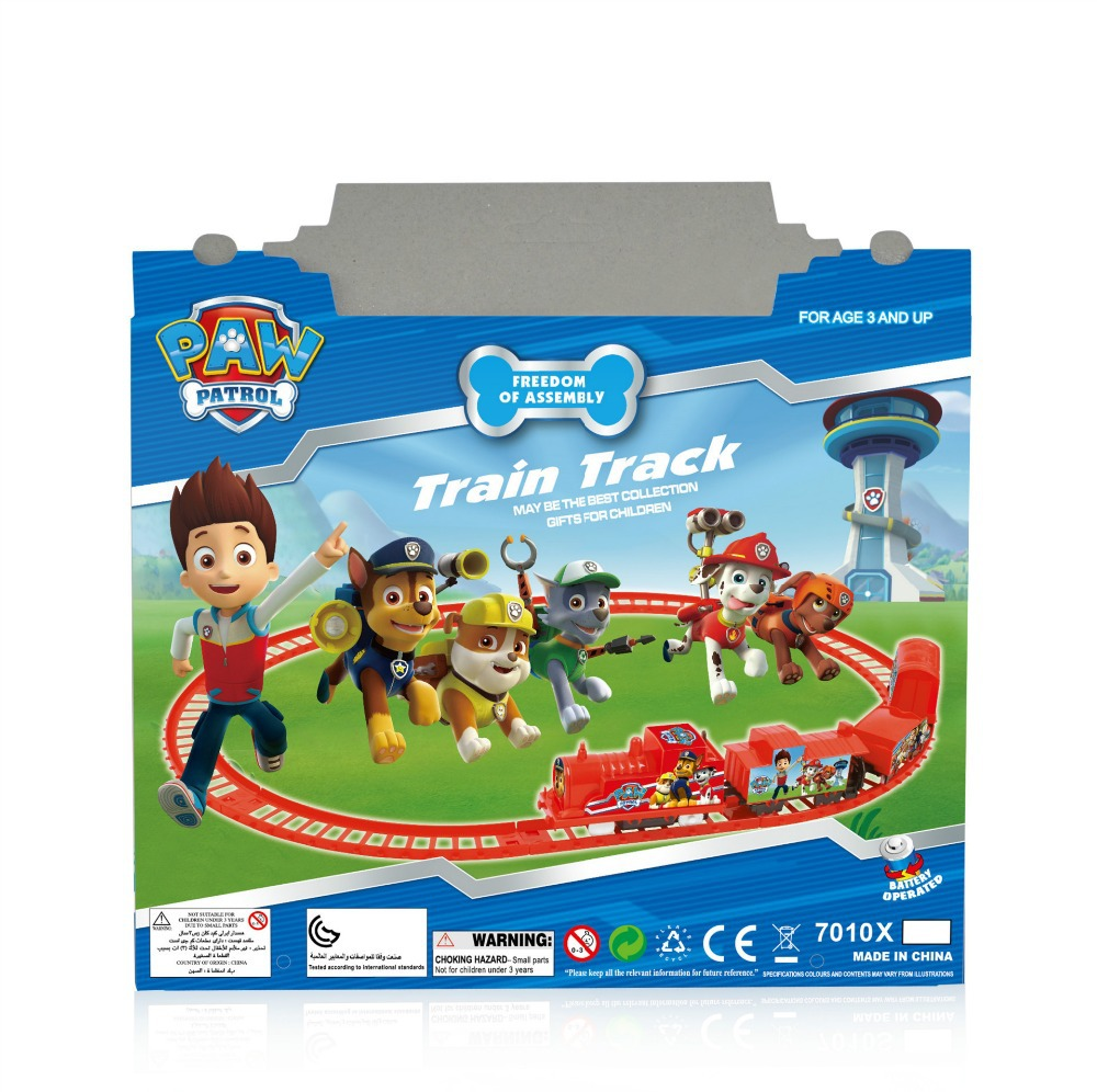 train toys, dog patrol toy plastic doll Movie & TV Animal dolls Puzzle of rail transit 2-7 years old children TOYS(China (Mainland))