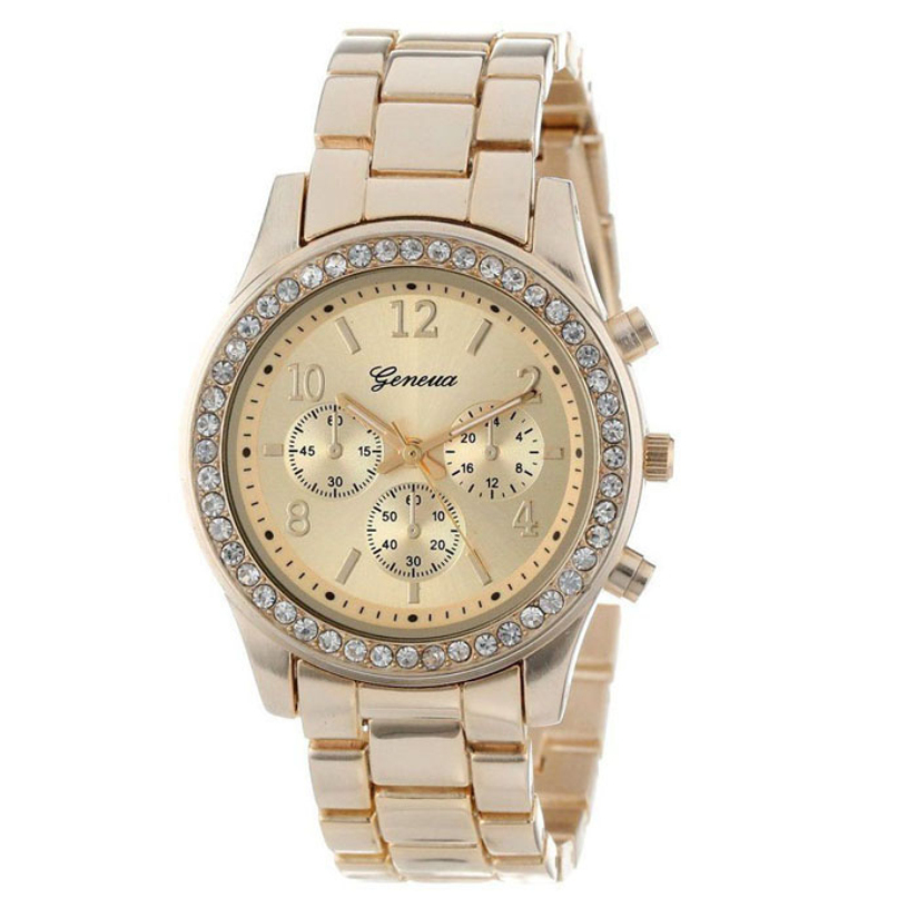 Гаджет  11.11 Global Shopping Festival Matel gold silver watch Faux Chronograph Quartz Plated Classic Round Ladies Women Crystals Watch None Часы