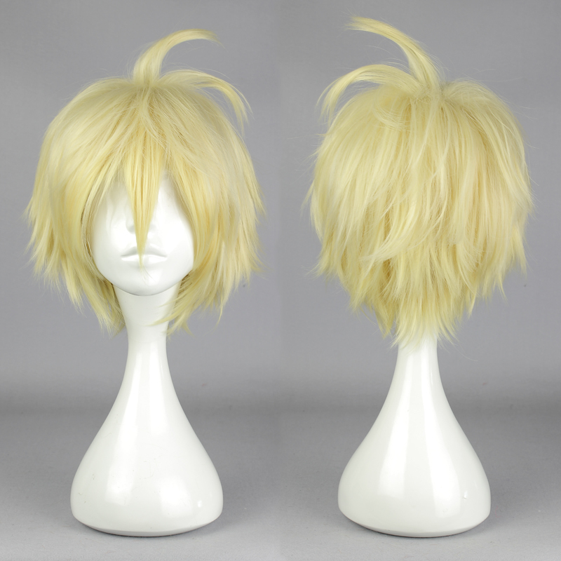 MCOSER Fashion  Seraph of the End Vampire Mikaela Hyakuya Yellow Short Straight Synthetic Anime Party Cosplay Costume Full Wig