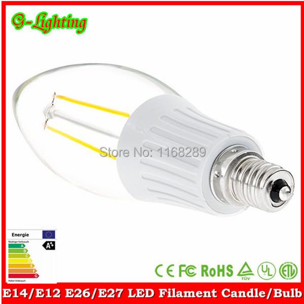 Free shipping hot sell 20 pcs/lot a35 2W a60 4W 6W 8W LED lamp110lm/w clear glass filament e27 e12 e14 E26 clear led candle bulb(China (Mainland))