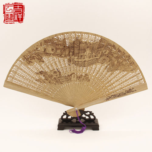 2 pieces Chinese Handmade Classical Sandal Wood Fragrant Hollow Folding Bamboo Fan(China (Mainland))