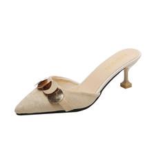 Moda kadın sığ kayma dayanıklı süet stiletto topuklu kadın seti feet lüks yüzey seksi kadın yüksek topuklu sivri burun(China)