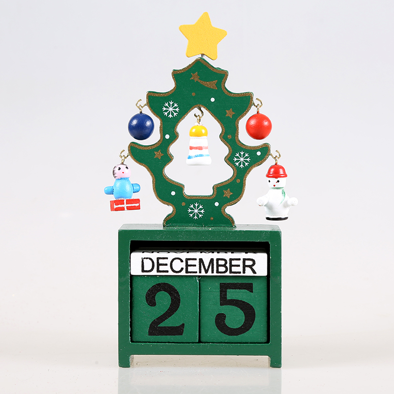 1pc Christmas tree Calendar wooden blocks craft ornaments children learning tool Xmas New Year Festival Party decoration(China (Mainland))