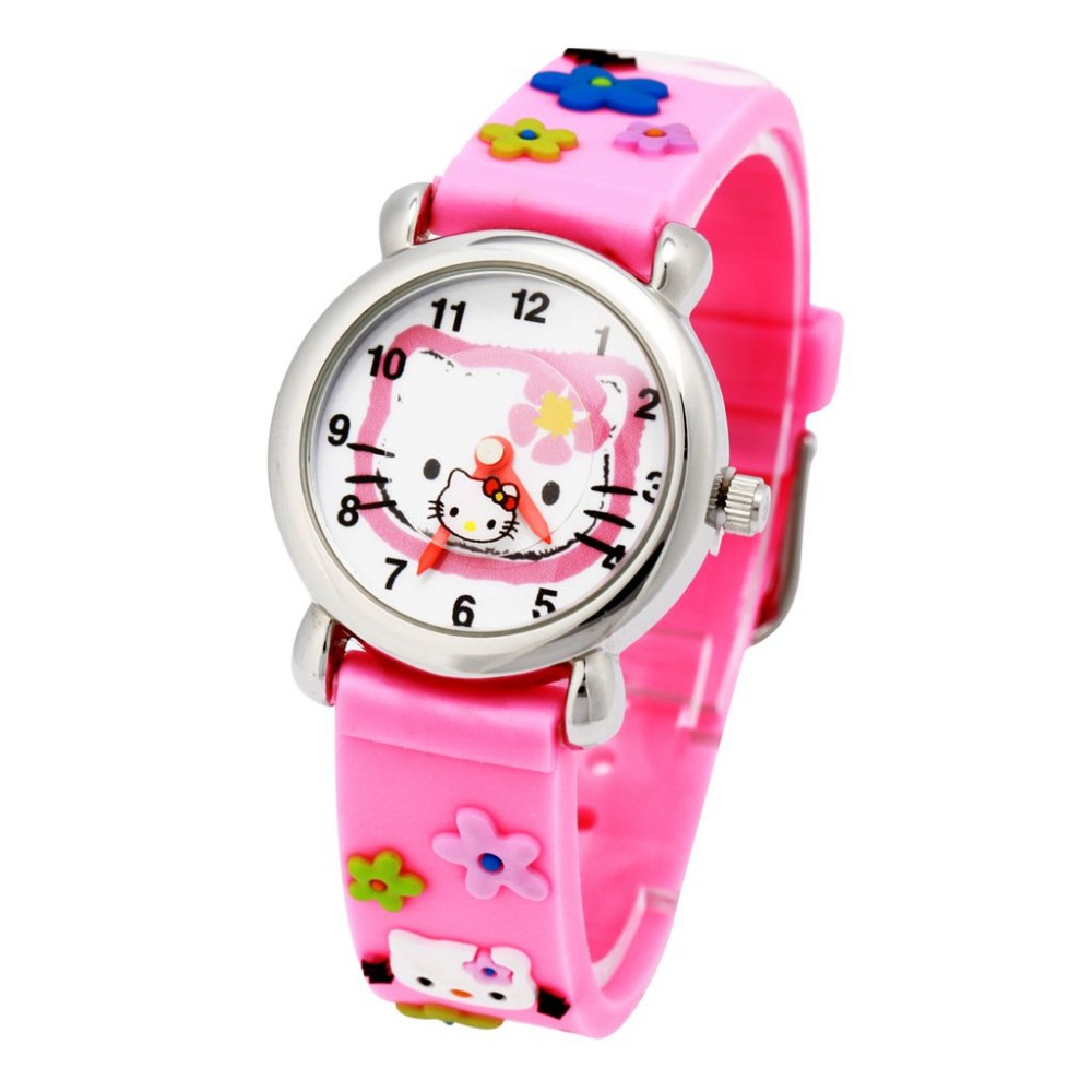 2016 Hello Kitty Clock Hours New Cartoon Watches Fashion Rubber Girls Kids Analog Quartz Wrist Watch Children Gifts Wristwatches