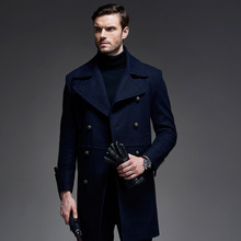 Hot 2016 New England Style Coat For Men Winter Long Wool Coat Double Breasted Coat Men Trench Coat Mens Peacoat Overcoats T195(China (Mainland))