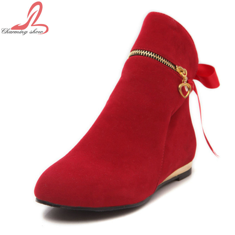 Fashion Big Size 33-43 Cute Style Bowtie Five Colors Ankle Boots For Women Flat Short Shoes Round Toe Solid Winter Boots(China (Mainland))