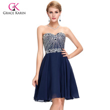 Cocktail Dresses Grace Karin 2017 New Arrival Luxury Beaded Knee Length Lace Up Short Party Women Elegant Cocktail Dress(Hong Kong)