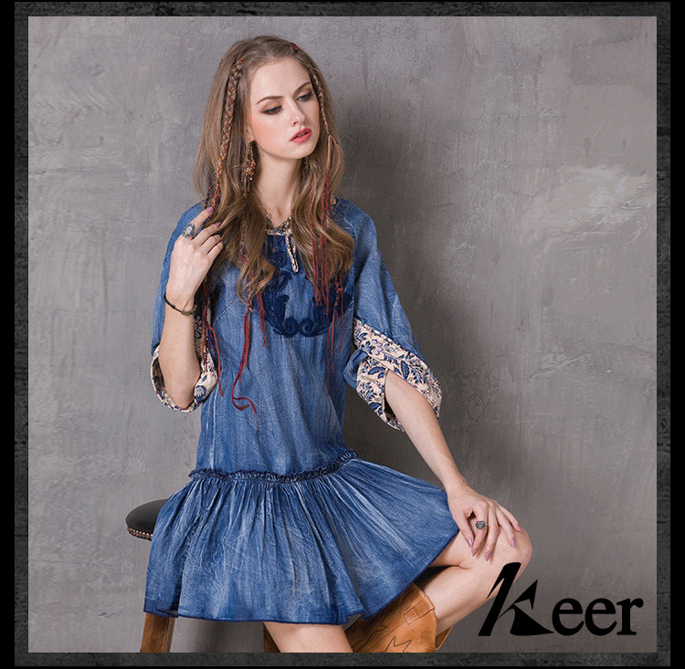 DEMON STYLE 2016 Spring new arrival elegant  embroidery denim dress,womens dress womens clothingОдежда и ак�е��уары<br><br><br>Aliexpress