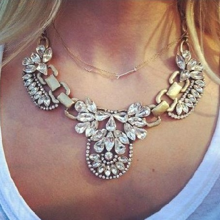Free shipping New Arrival   Exaggerated punk Metal High quality rhinestone bib necklace Statement jewelry for women 2014 PT33