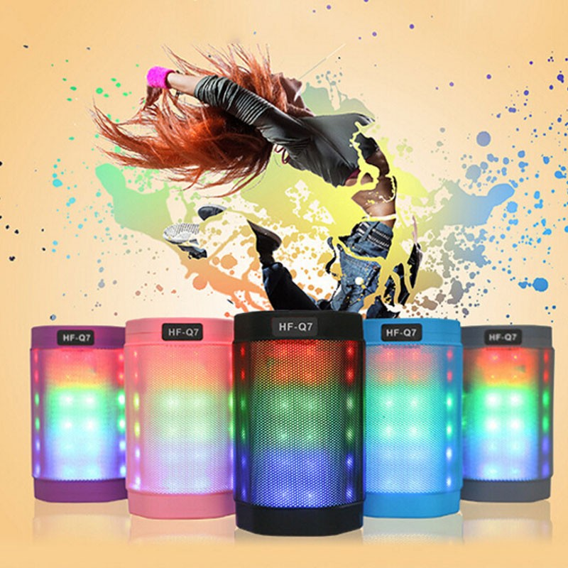 Hot selling HF lights q7 chameleon wireless bluetooth speakers with inbuilt timer can insert card U disk For mobile phone(China (Mainland))