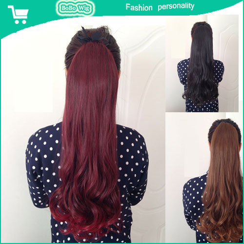 2015 ladies fashion colorful Long fake hair Wavy Curly Ponytail Hair Piece hair extension Braided hair 12 color to optional(China (Mainland))