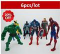 6pcs lot marvel legend neca Super HeroesThe Avengers Hulk Batman homem de ferro Building Blocks Sets