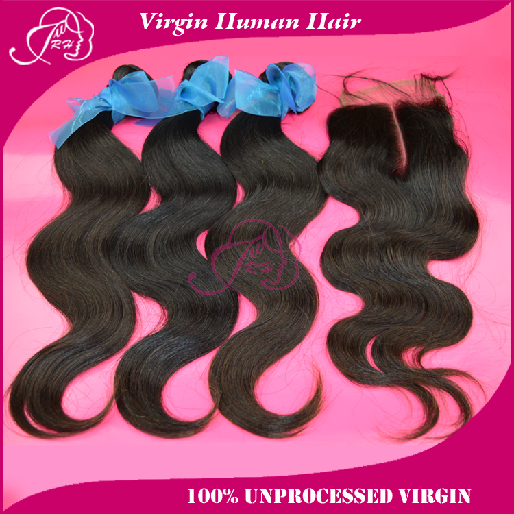 brazilian virgin hair body wave extension human weaves one closure bleached knots 4*4 free style - Xin products factory store
