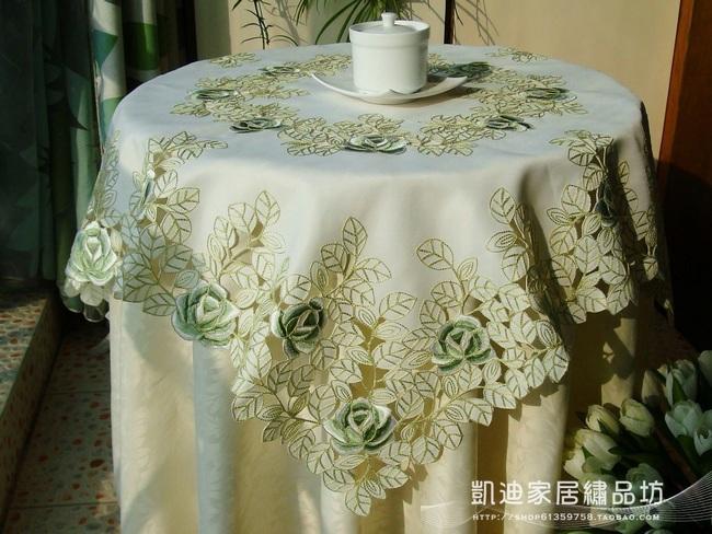 mesa jardim promocao:Jardim simples de alta qualidade bordado toalha para mesa redonda mesa