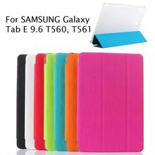 SM-T560 Flip Cover Transparent Back Case for SAMSUNG Galaxy Tab E 9.6 T560 T561 Smart Cover Stand Case free shipping
