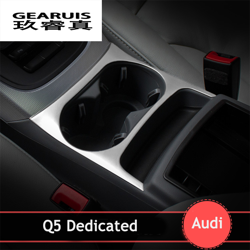 Car styling water cup holder frame cover trim strips stainless steel Armrest box decorative sequin 3D stickers for Audi Q5<br><br>Aliexpress