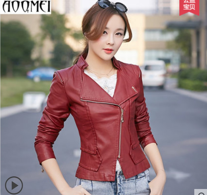 Motorcycle leather clothing female 2015 new Spring and autumn Ladies leather jacket short slim plus size leather  women redОдежда и ак�е��уары<br><br><br>Aliexpress