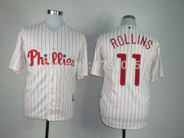 Jimmy Rollins 11 Jersey Philadelphia Phillies Jersey Best Quality Cotton Breathable Stitched Jersey Embroidery Logos Quick Dry(China (Mainland))