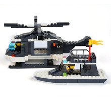 WANGE Building Blocks Police Series Police Helicopter And Police Boat Toys For Children Model Building Kits Christmas Gift