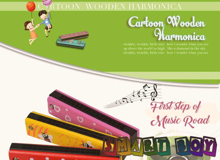 Colorful Cartoon Wooden Harmonica 16Holes Tremolo Harmonica Kids Musical Instrument Educational Toy Wooden Cover Top Quality