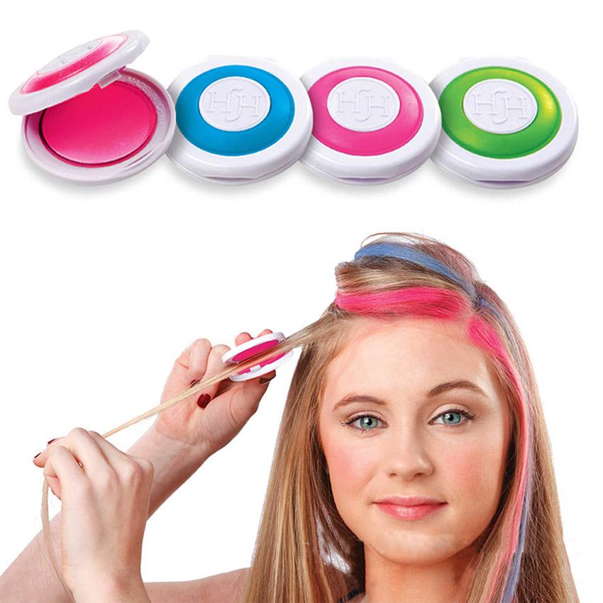 1 Pc 4 Colors Dye Hair Powdery Cake Temporary Hair Chalk Powder Dye Soft Pastels Salon Party(China (Mainland))