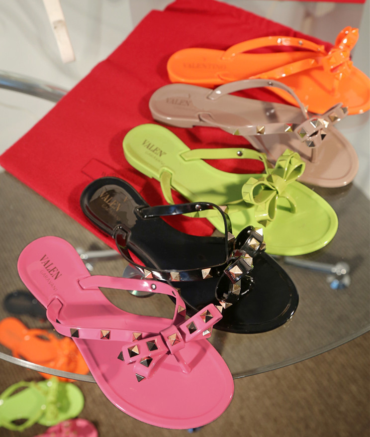 5 colors 2015 summer V brand rivets flip flops butterfly knot sandal colorful flat shoes slipper