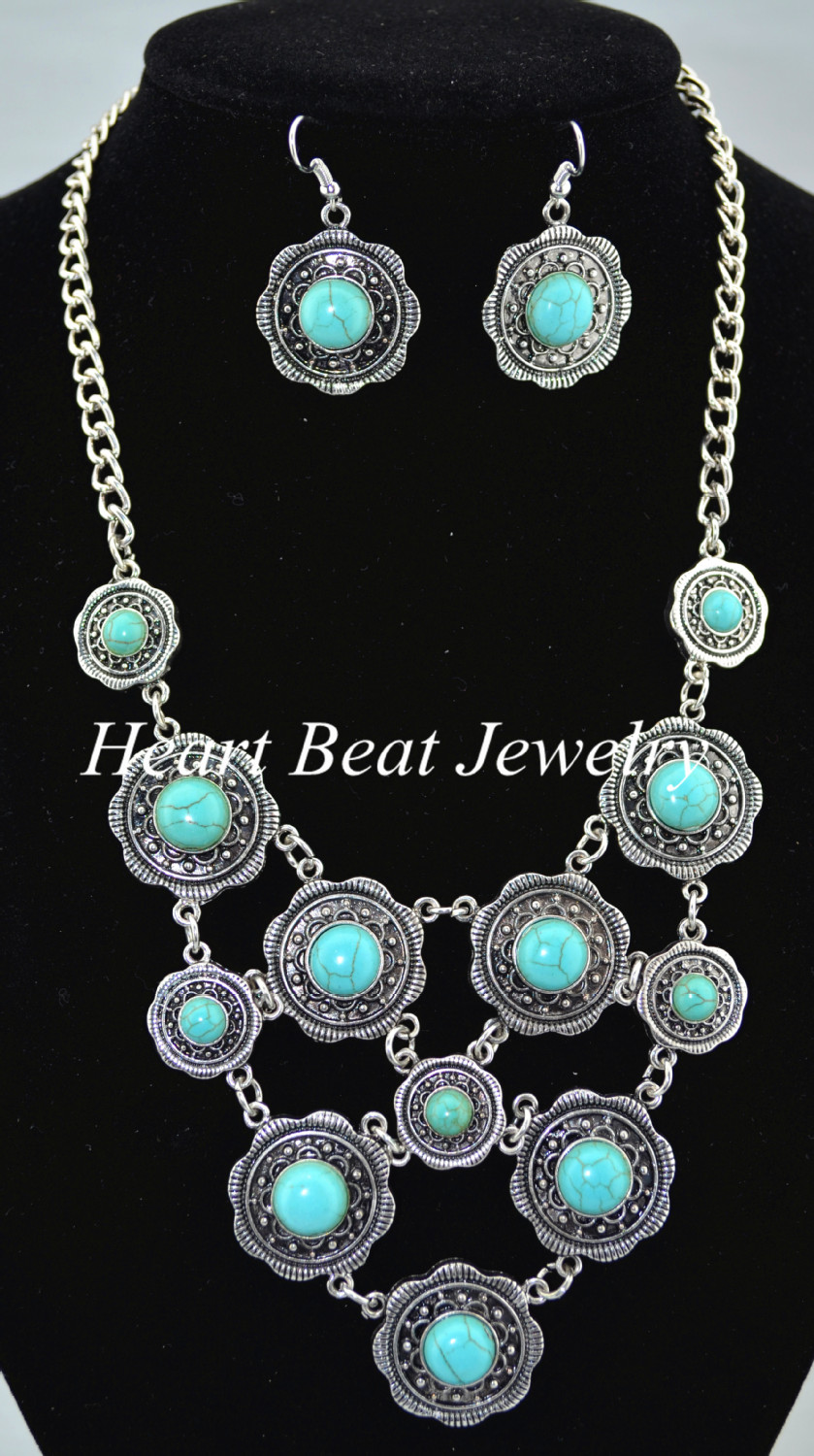 ,, Steady Turquoise Jewelry Sets Necklace/Earing - HeartBeat Online shop store