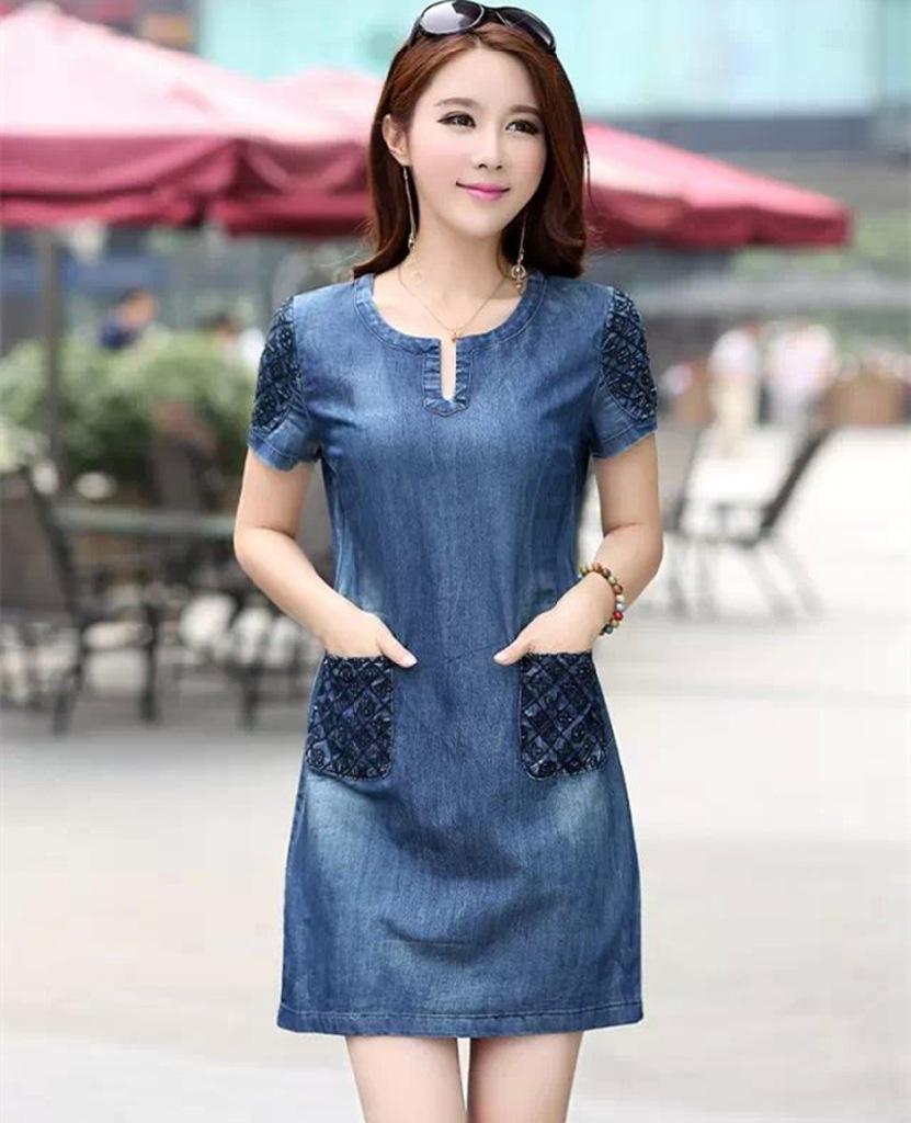 2015 summer casual blue denim dress women loose fashion jean lady slim short sleeve plus size - Top Cloth E-C store
