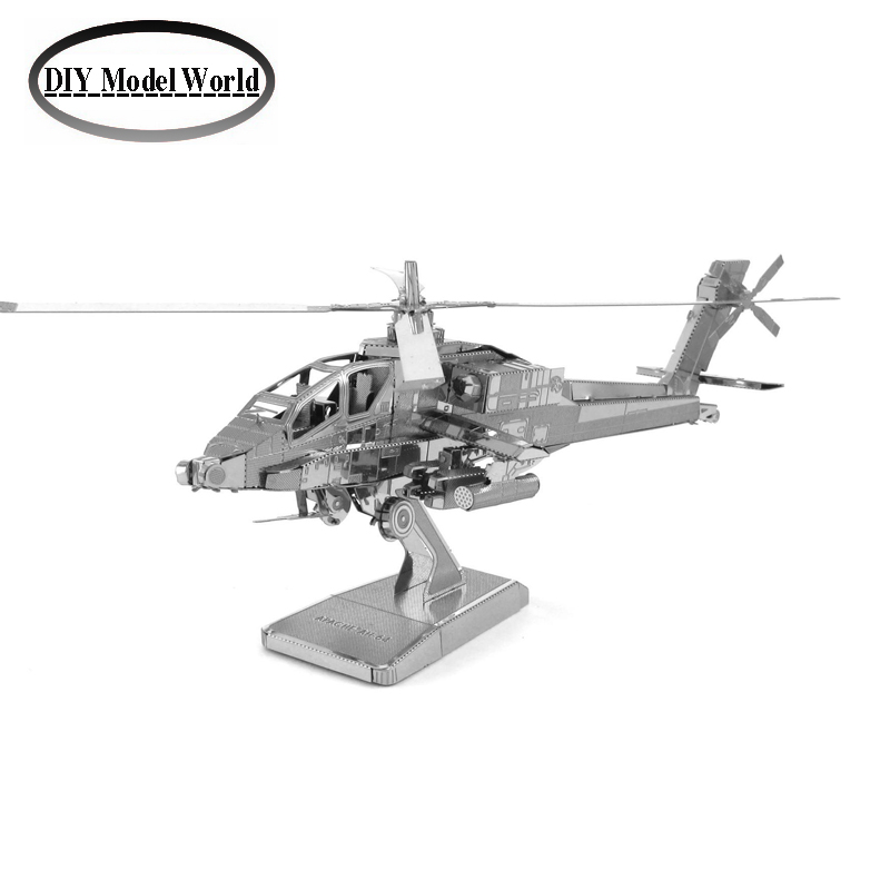 Boeing AH-64 Apache helicopter gunships model kit laser cutting 3D puzzle DIY metalic airplane model jigsaw free shipping(China (Mainland))