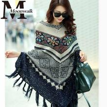 MOON WALK Womens Capes And Ponchoes 2015 Autumn Winter Cape With Tassel Women's Sweater Fashion Vintage 2015 Bohemian ZY631(China (Mainland))