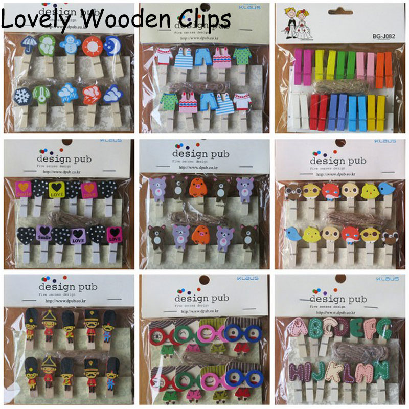 2016 Sale Rushed Artesanato Decor 1 Pack Kawaii Wooden Clip Photo Paper Craft Diy Clips With Hemp Rope Wedding Couple Clothespin(China (Mainland))