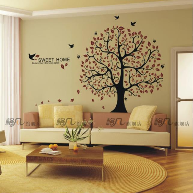 2016 Special Offer Limited Poster Big Lucky Tree Wall Sticker Sofa Tv Background Living Room Home Decoration Sweet Painting(China (Mainland))