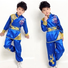 Buy Popular Sale Children Martial Arts Uniform Dragon Pattern Wu Shu Clothing Long Sleeve Kung Fu Costume Set Tops+Pants+Belt for $24.69 in AliExpress store