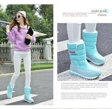 Antideslizante 2015 de invierno térmicas impermeables botas de nieve botas de plataforma botas de nieve de algodón mediano de la pierna botas de nieve botas zapatos femenino(China (Mainland))