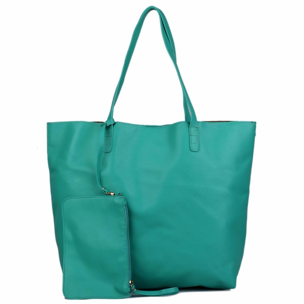 Large Women Day Market 12 Colors Shopping Shoulder Tote Bag Shopper A4 Ring Binder Book Handbag PU Leather Soft Material L1502(China (Mainland))