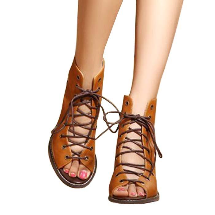 Peep Toe Gladiator Heels | Tsaa Heel