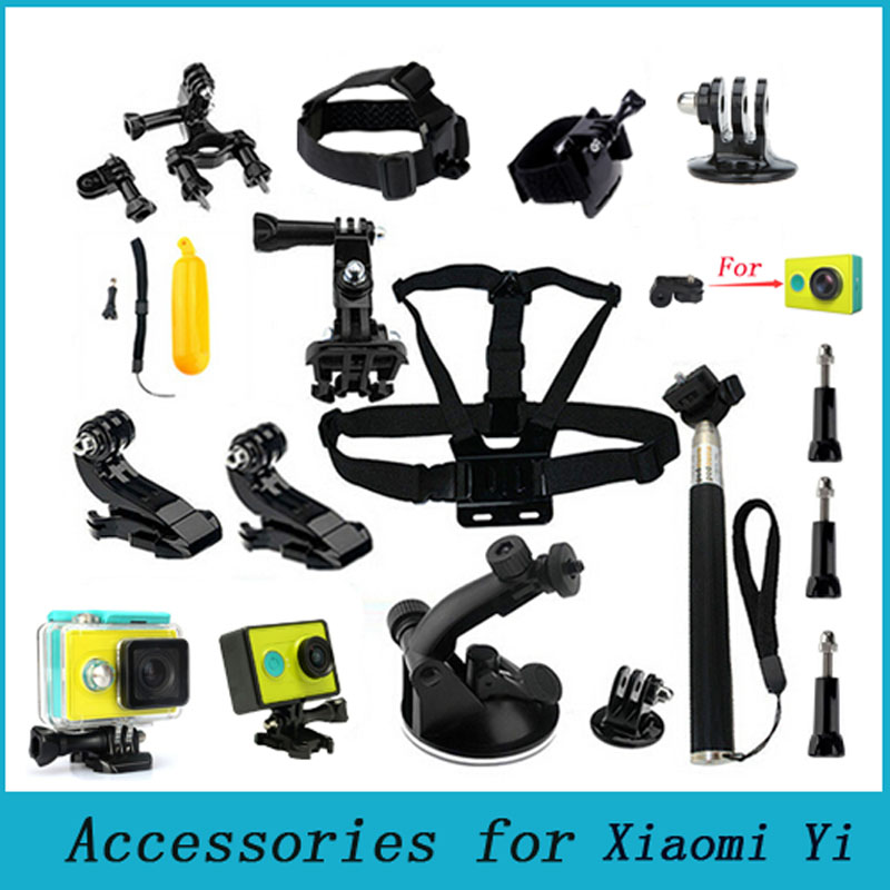 Xiaomi Yi Accessories Set Waterproof Case Protective Border Frame Chest Wrist Belt Head Strap Mount Monopod For Xiao yi Camera(China (Mainland))