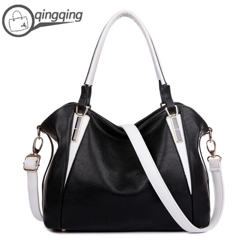 Women Leather Handbags Black Leather Soft Casual Tote Zipper Shoulder Bags Designer Handbags High Quality 2 Color(China (Mainland))