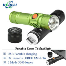 portable light mini USB flashlight CREE XM-L T6 LED torch rechargeable 18650 Built-in battery waterproof flash light 3000 lumen(China (Mainland))