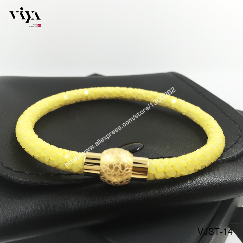 Simple 18k Gold plated Bracelet For Men Genuine  Yellow Stingray Leather Bracelet For Sports Boy High Quality Bracelet With Box <br><br>Aliexpress