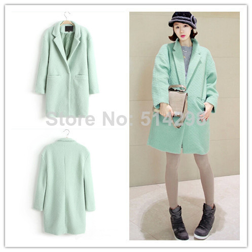 2015 New Designer Fall/Winter Fashion Coat Women Clothing Classic Mint Green Lapel Double Pocket Longline Wool Oversized - Charlotte's fashion store