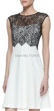 Fashion Patchwork Lace Bodice Overlay Party Dress ML110