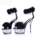 Nightclub Sexy 5 CM Platform Shoes Woman Summer Feather Women Sandals Hook Loop 15 CM High